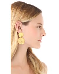 Kenneth Jay Lane Metallic Two Tiered Hammered Earrings