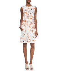 Theory | Multicolor Linigole Floral-print Belted Dress | Lyst