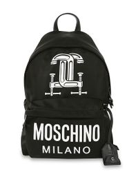 Moschino - Black Tools Printed Cotton Blend Backpack - Lyst