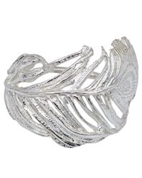 Alex Monroe | Metallic Silver Big Curled Peacock Feather Ring | Lyst