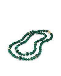 David Yurman | Green Dy Signature Bead Necklace With Malachite In 18k Gold | Lyst