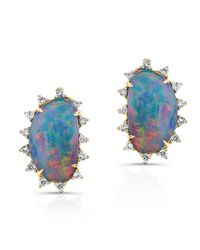 Anne Sisteron | Blue 14kt Yellow Gold Opal Diamond Spike Stud Earrings | Lyst