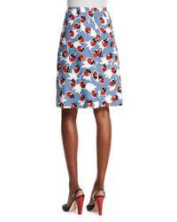 Carolina Herrera - Blue Lady Bug-print Patch-pocket Skirt - Lyst