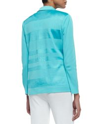 Misook - Blue Horizontal Sheen Striped Jacket - Lyst