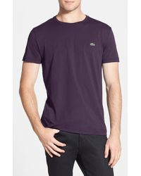 Lacoste - Purple Pima Cotton Crewneck T-shirt for Men - Lyst
