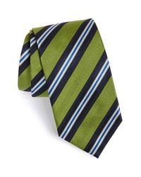 David Donahue - Green Stripe Silk Tie for Men - Lyst