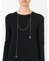 Givenchy | Metallic Double Crucifix Pendant Necklace | Lyst
