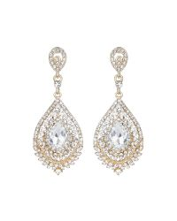 Mikey | Metallic Filligree Crystal Ovals Drop Earring | Lyst