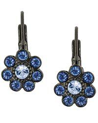 2028 | Blue Crystal Leverback Earrings | Lyst