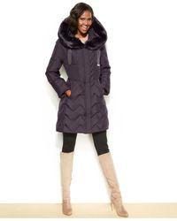 Tahari - Gray Hooded Faux-Fur-Trim Down Puffer Coat - Lyst