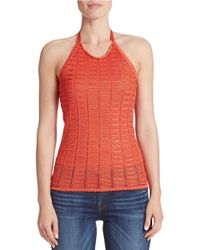 Guess | Orange Crocheted Halter Top | Lyst