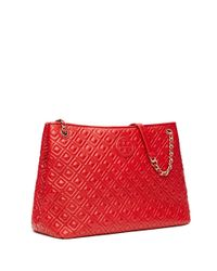 Tory Burch | Red Marion Quilted Chain-shoulder Slouchy Tote | Lyst