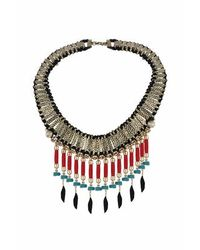TOPSHOP - Black Statement Feather Drop Collar - Lyst