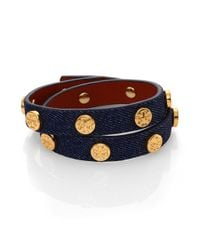 Tory Burch - Blue Logo Stud Denim & Leather Double-Wrap Bracelet - Lyst