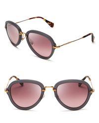 Miu Miu | Gray Noir Aviator Sunglasses | Lyst