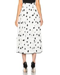Oscar de la Renta   Black Spot Print Full Skirt   Lyst