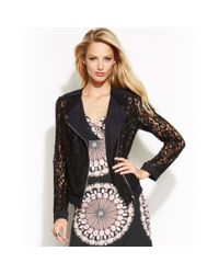 INC International Concepts - Black Illusion Lace Moto Jacket - Lyst