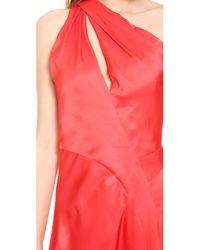 J. Mendel - Red One Shoulder Draped Cocktail Dress - Scarlett - Lyst