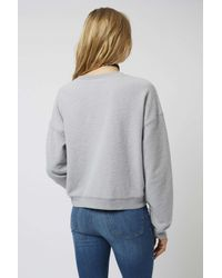 TOPSHOP - Gray Brushed Sweat - Lyst