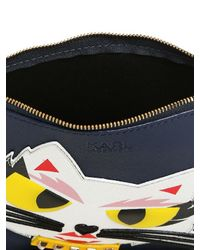 Karl Lagerfeld | Blue Monster Choupette Coated Canvas Pouch | Lyst