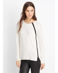 Vince | White Asymmetric Zip Textured Crew Neck Sweater | Lyst