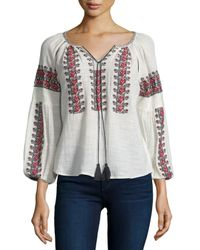 Love Sam - Gray Drea 3/4-sleeve Embroidered Top - Lyst