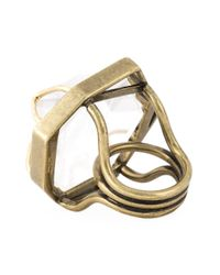 Lanvin - Brown Oversized Ring - Lyst