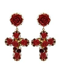 Dolce & Gabbana - Metallic Crystal And Rose Embellished Earrings - Lyst
