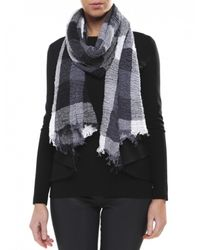 Jules B - Black Crinkle Check Cotton Scarf - Lyst