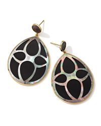 Ippolita - Black 18K Gold Polished Rock Candy Carved Layers Large Teardrop Earrings - Lyst