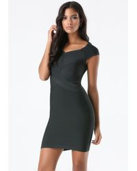 Bebe | Black Off Shoulder Bandage Dress | Lyst