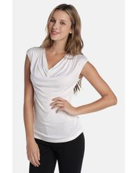 NIC+ZOE | White Drape Neck Top | Lyst