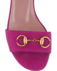 Gucci - Pink Horsebit-detailed Suede Sandals - Lyst