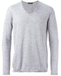 Roberto Collina - Gray V-neck Sweater for Men - Lyst