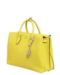 MCM - Yellow Milla Leather Top Handle Bag - Lyst