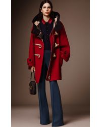 Burberry - Red Oversized Technical Wool Duffle Coat - Lyst