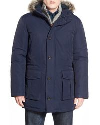 Ben Sherman | Blue Ballistic Nylon Hooded Parka With Faux Fur Trim for Men | Lyst