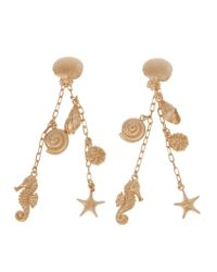 Valentino | Metallic Shell Charm Clip-on Earrings | Lyst