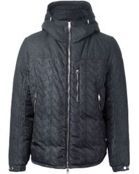 Moncler - Gray Hooded Padded Jacket for Men - Lyst