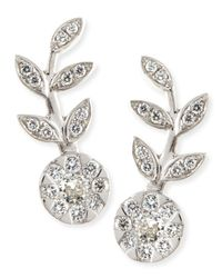 Rina Limor - Metallic 18k White Gold & Diamond Floral Climber Earrings - Lyst
