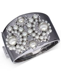 Givenchy | White Silver-tone Faux Pearl Cuff Bracelet | Lyst