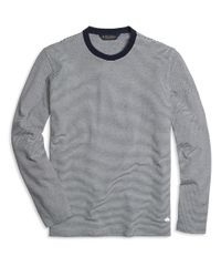 Brooks Brothers | Blue Long-sleeve Stripe Crewneck Tee Shirt for Men | Lyst