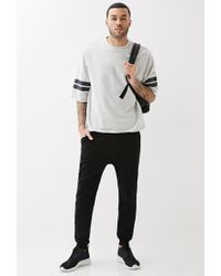 Forever 21 - Black Varsity Stripe Cutoff Sweatshirt You've Been Added To The Waitlist for Men - Lyst