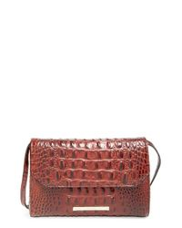 Brahmin | Brown 'carina' Croc Embossed Leather Shoulder Bag | Lyst
