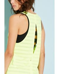 Forever 21 - Yellow Burnout Stripe Workout Tank - Lyst