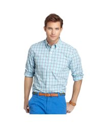 Izod | Blue Long Sleeve Essential Plaid Shirt for Men | Lyst