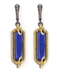 Armenta - Blue Midnight Small Lapis Fleur De Lis Earrings - Lyst
