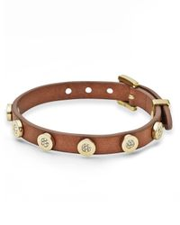 Michael Kors | Brown Pave Station Leather Buckle Bracelet | Lyst