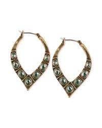 Lucky Brand | Metallic Goldtone Green Stone Pointed Hoop Earrings | Lyst