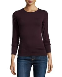 Neiman Marcus | Purple Soft Touch Long-sleeve Crewneck Top | Lyst